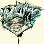 Fotografia graffiti di giradischi di musica design