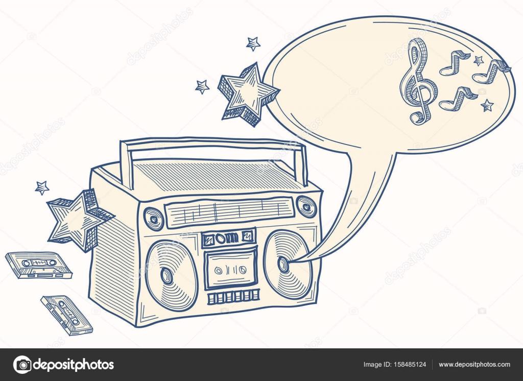 Dibujo boombox con notas — Archivo Imágenes Vectoriales ...