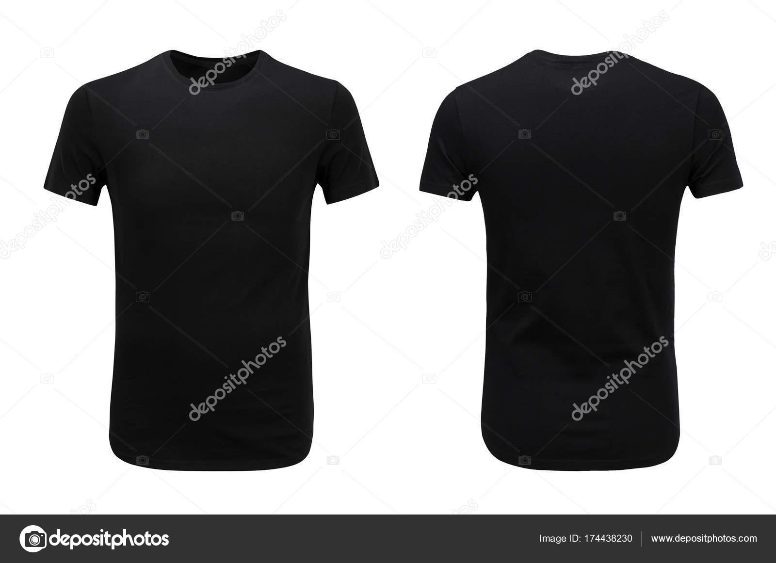 Vistas frontales y traseros de la camiseta negra sobre fondo blanco ...