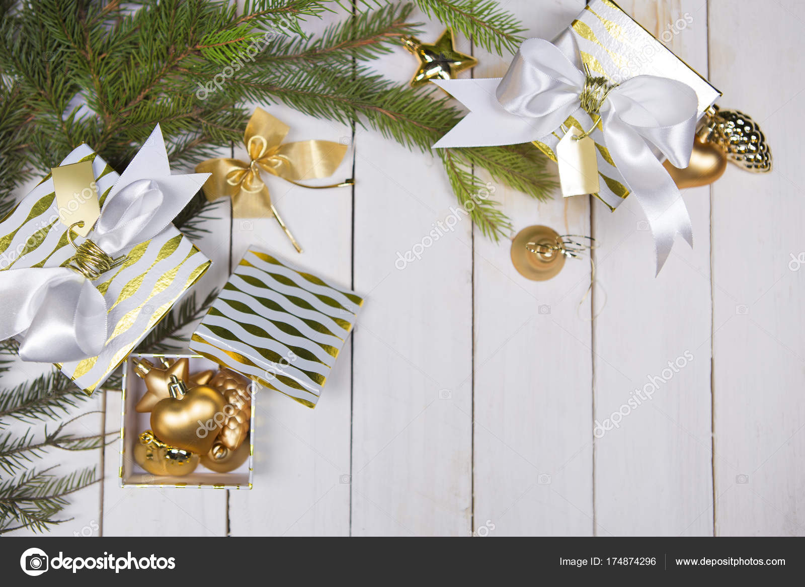 Christmas decoration, gift boxes, top view with copy space on white ...