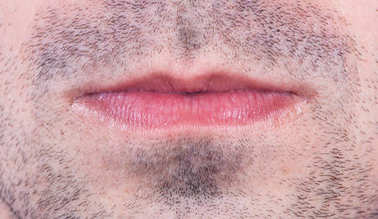 Man lips close up