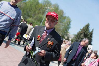 Yoshkar-Ola, Russia - May 9, 2016 Veteran of the Second World War during the Victory Day celebration in the central park of Yoshkar-Ola, Russia
