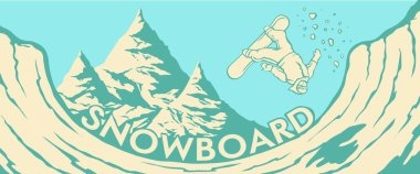 mountains  Halfpipe snowboarder jump
