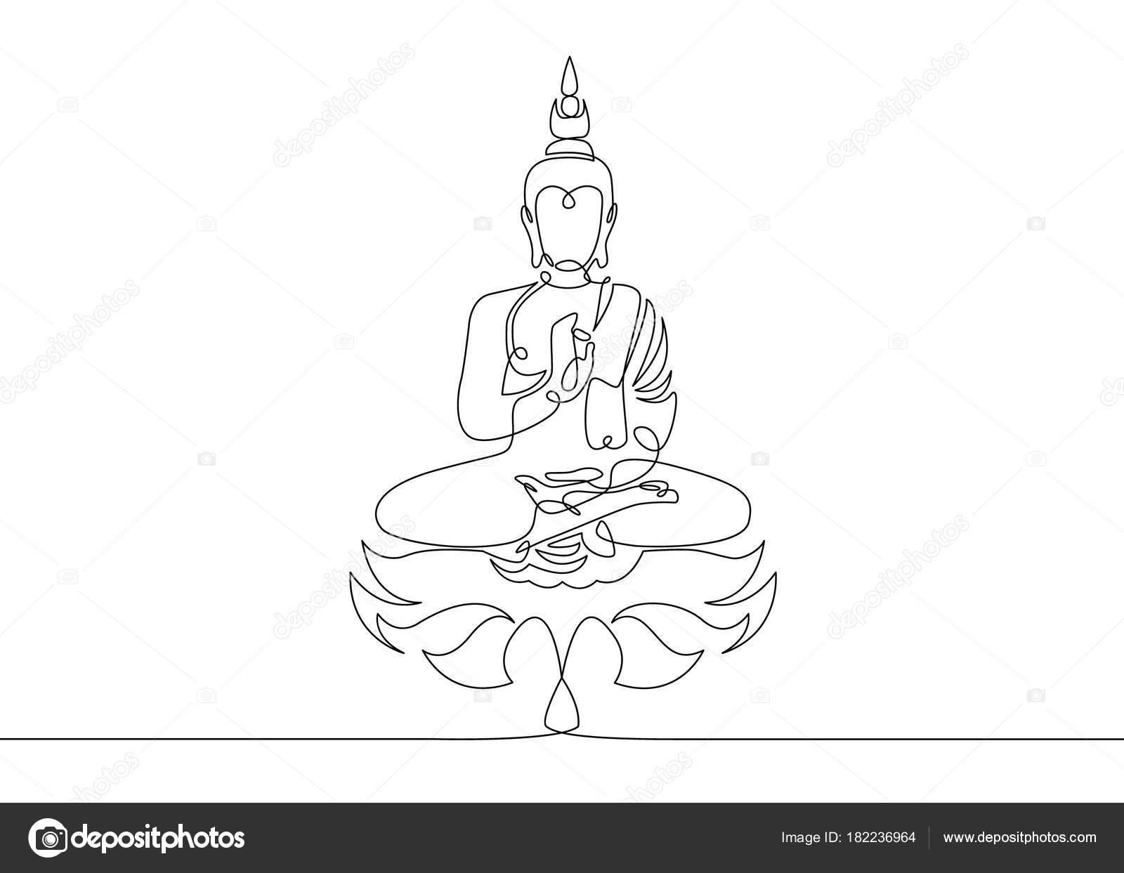 eine durchgehende linie gezeichnet buddha stockvektor derplan13 182236964. Black Bedroom Furniture Sets. Home Design Ideas