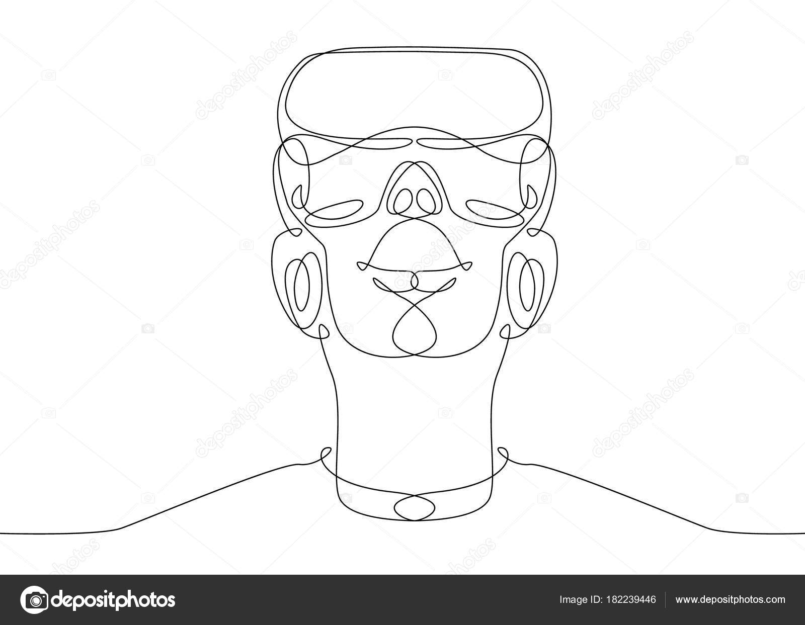Single Line Text Art : Continuous line drawing man in glasses device virtual reality