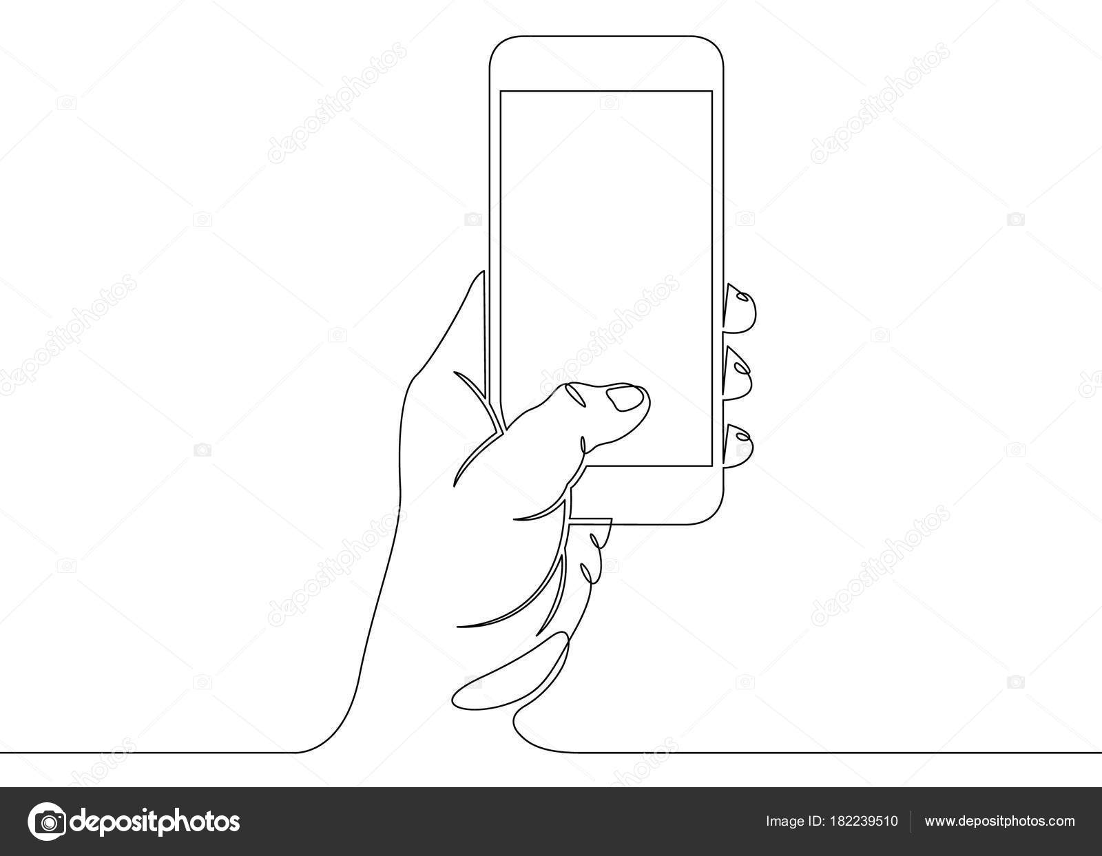 Single Line Text Art : Continuous line drawing in his hand phone smartphone u stock