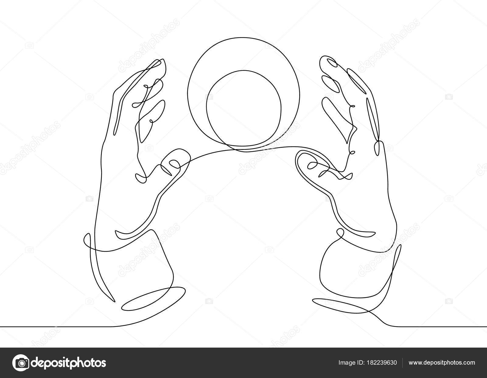 continuous line drawing hands with a crystal magic ball stock