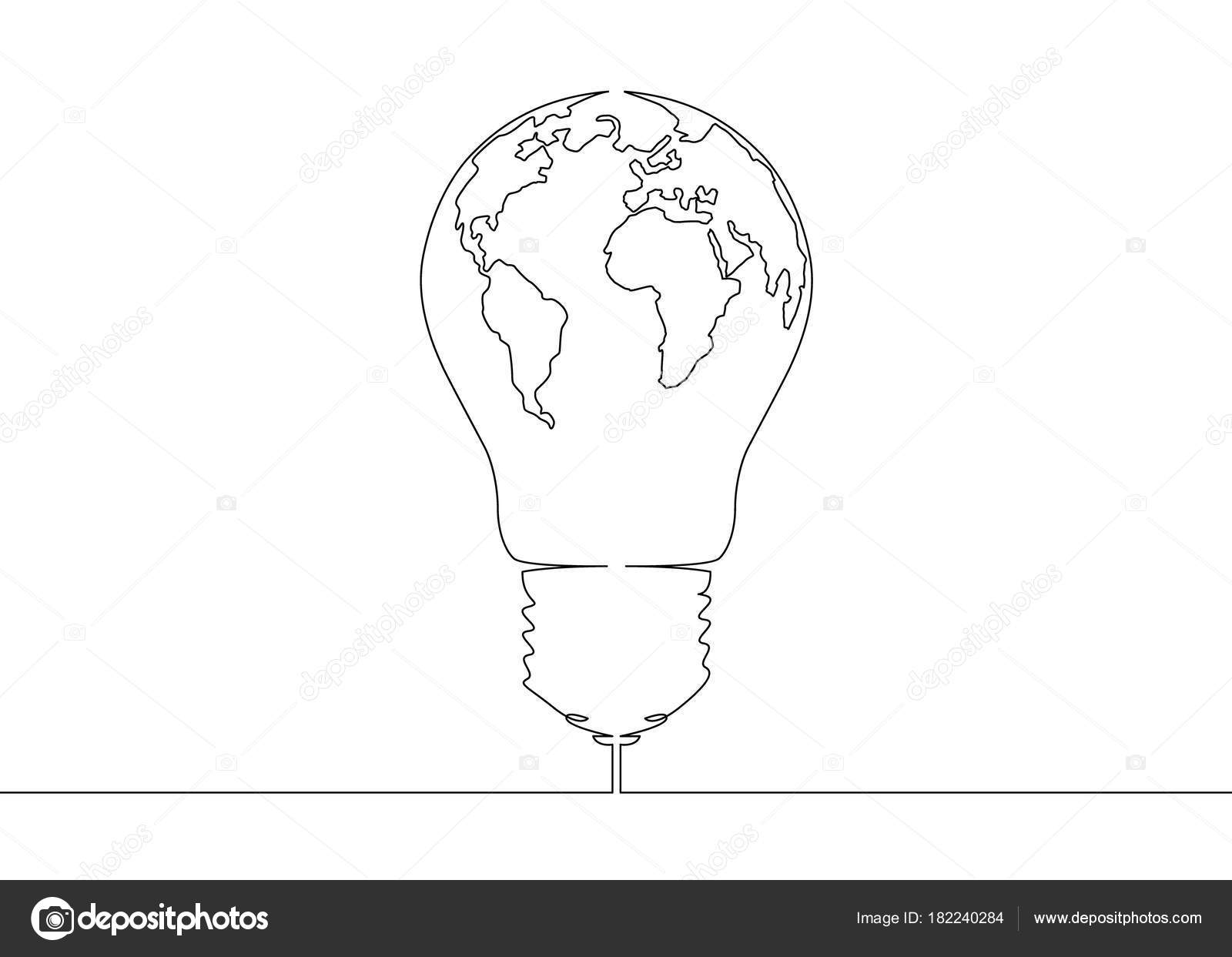 Single Line Text Art : Continuous line drawing light bulb symbol idea world map globe