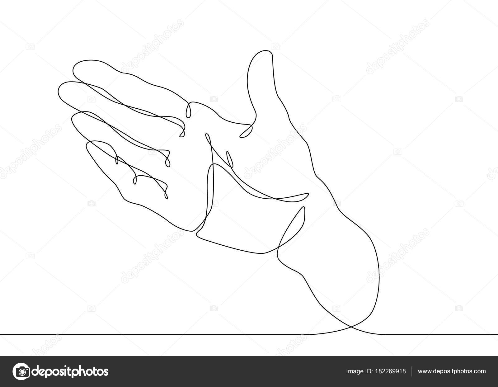 Single Line Text Art : Continuous line drawing palm open gesture u stock vector