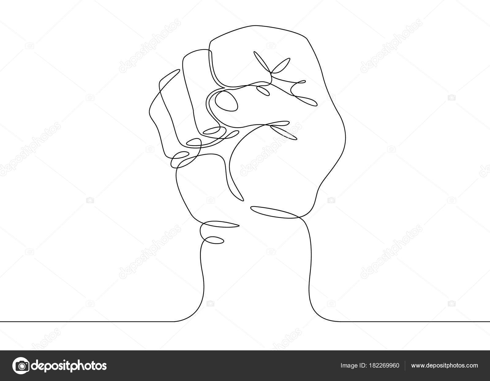 Line Drawing Face : Continuous line drawing fist gesture u stock vector derplan