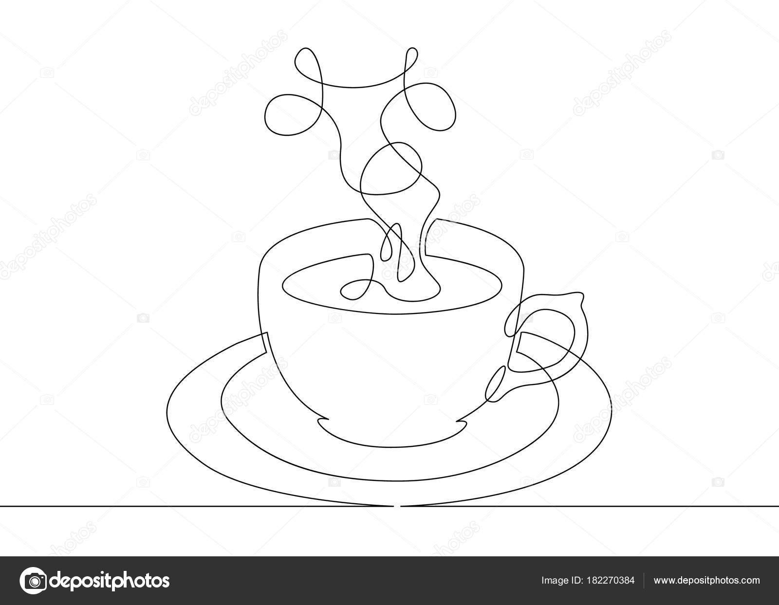 Disegno Di Linea Continuo Tazza Di Caffè Vettoriali Stock