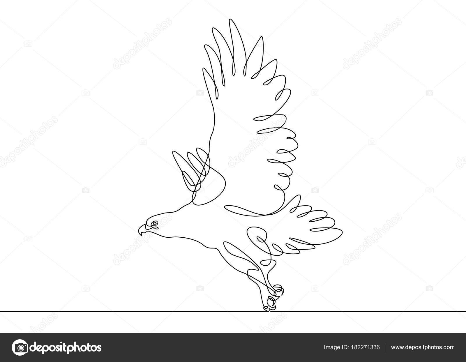 Dessin Au Trait Continu Oiseau Qui Vole Image Vectorielle