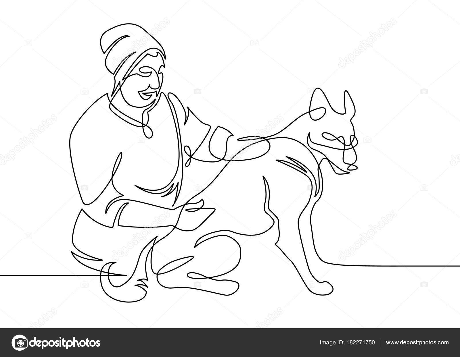 Continua un médico veterinario de línea dibujada — Vector de stock ...