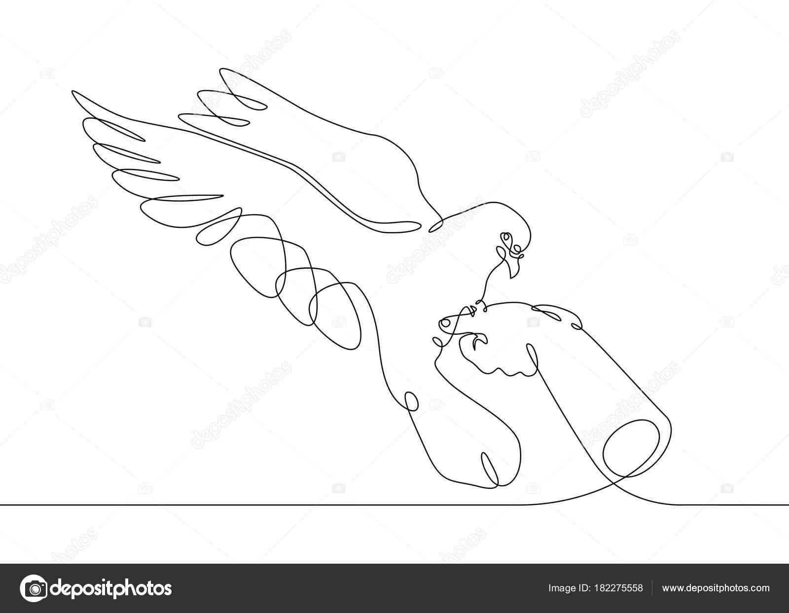 pájaro de dibujo de línea continua de mano al vuelo — Vector de ...