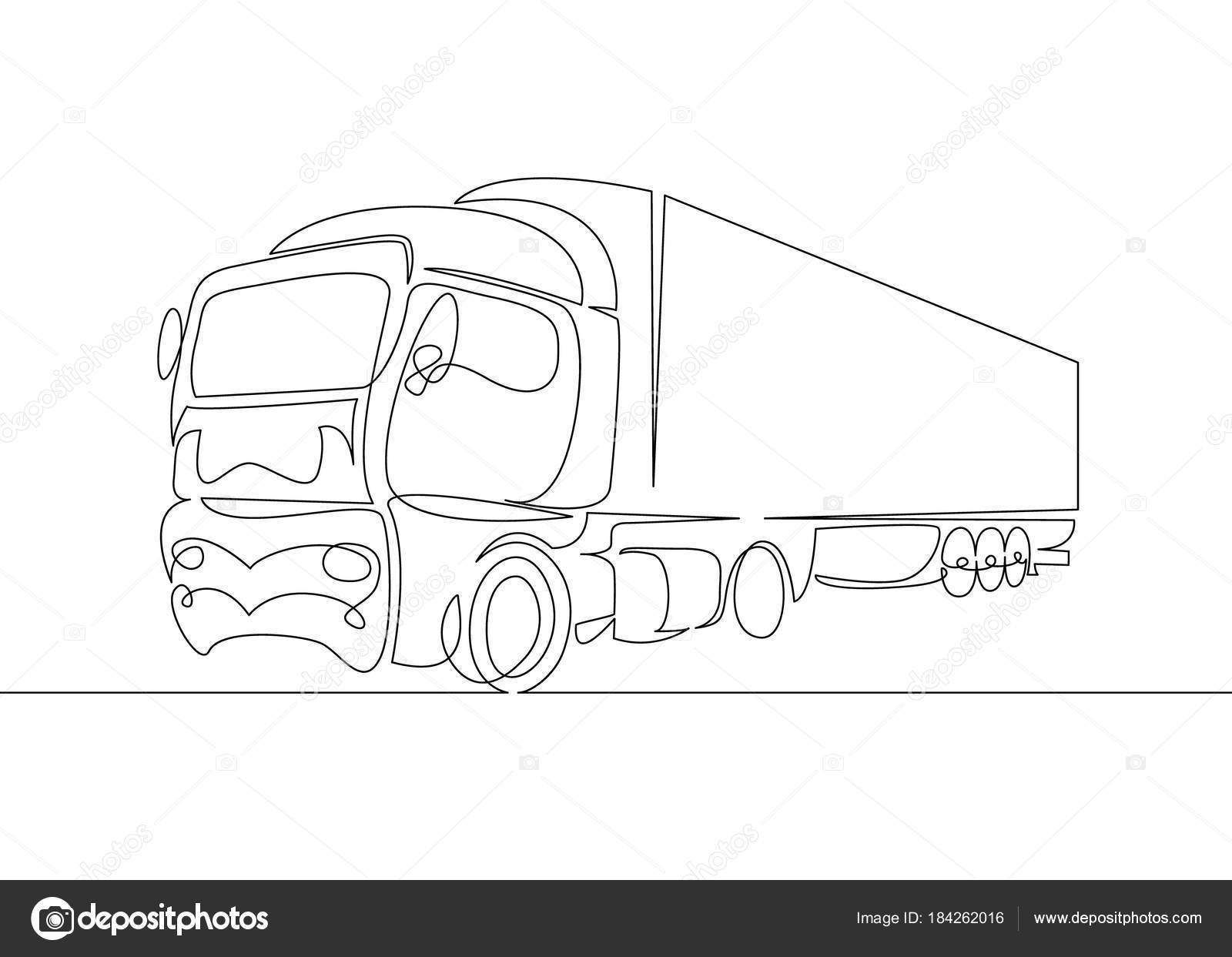 Simple Line Art Designs : Continuous line drawing of pickup truck transport vector