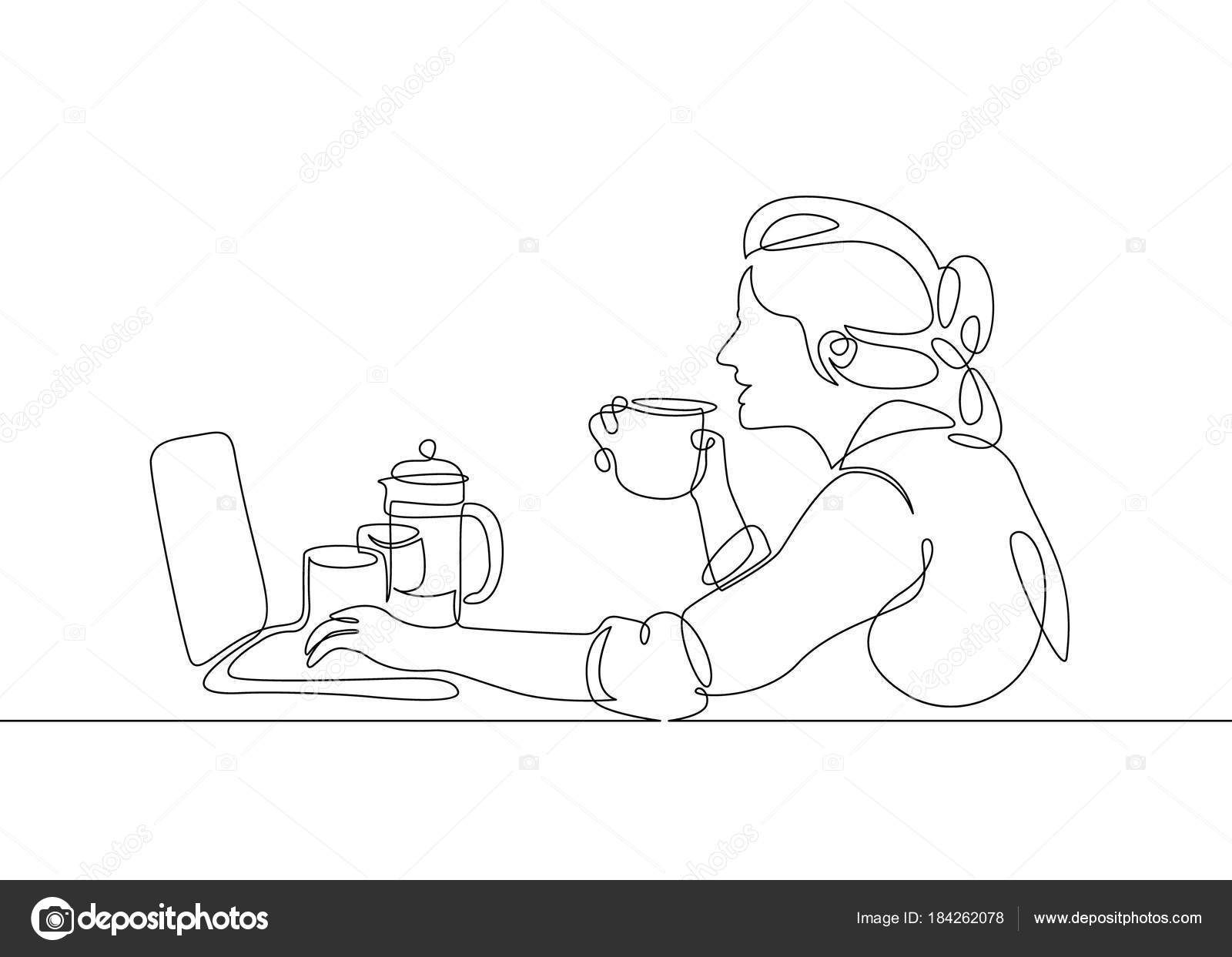 Single Line Character Art : Continuous single line one morning breakfast meal character at