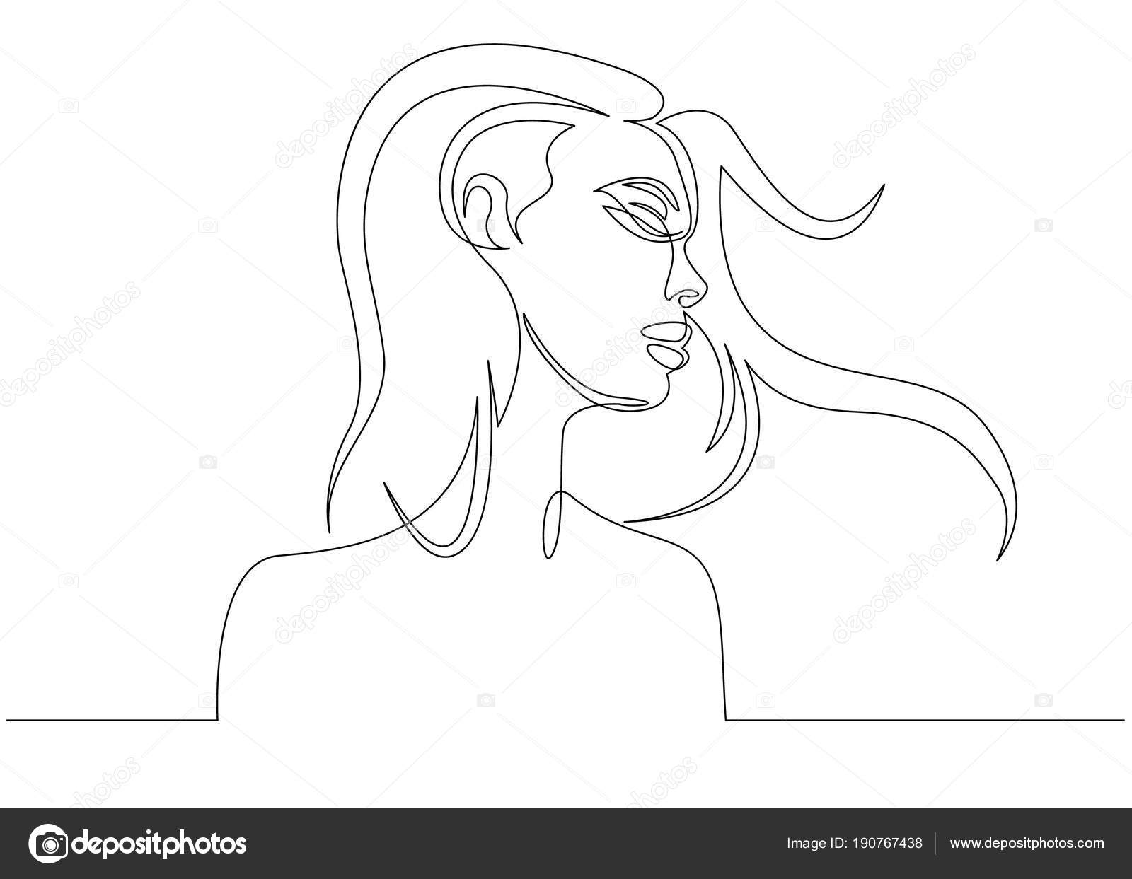 Continuous Line Drawing Abstract Portrait Of A Woman Side