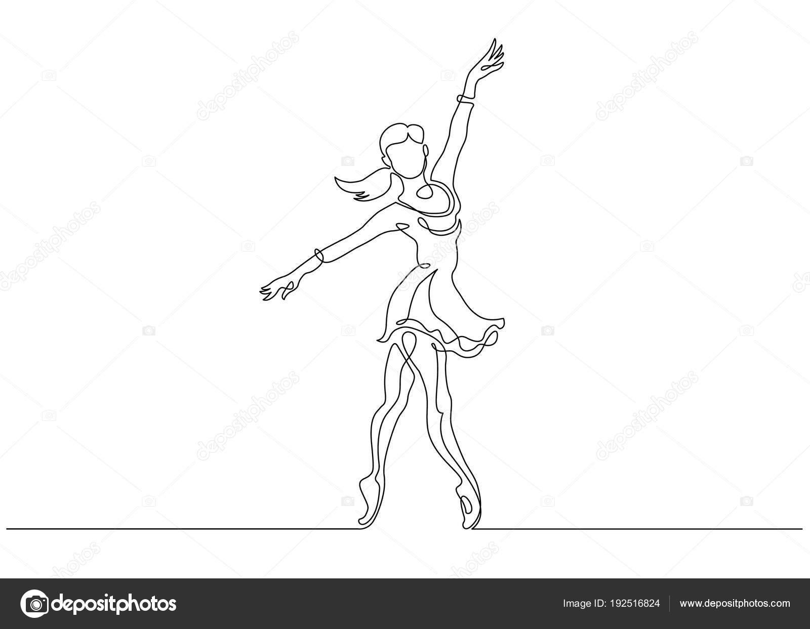 Disegno Di Una Ballerina : Linea continua arte disegno della ballerina ballerino di balletto