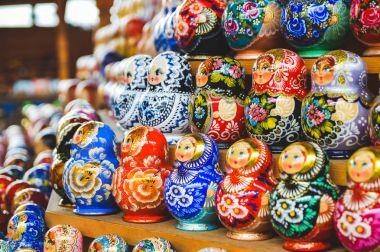 Traditional russian colourful matryoshka on exhibition-fair