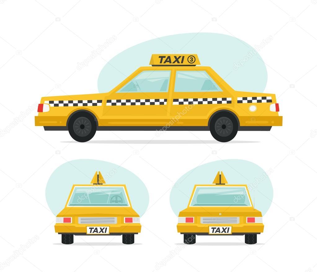 jeu de voiture de taxi jaune de dessin anim objets isol s sur fond blanc dans un style cartoon. Black Bedroom Furniture Sets. Home Design Ideas