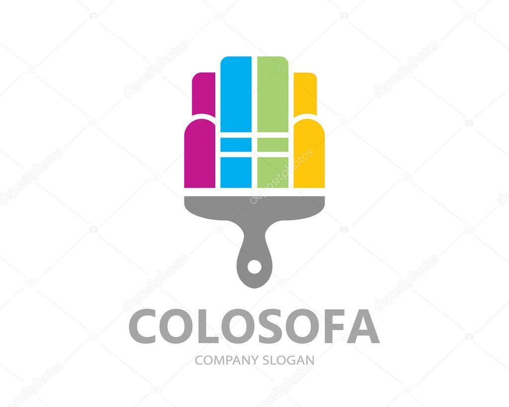Diseño de plantilla pintura del logo de vector sofá. Muebles ...