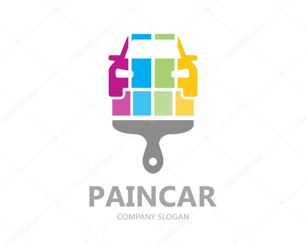 Vector Auto pintura plantilla diseño. Icono o símbolo de coche ...