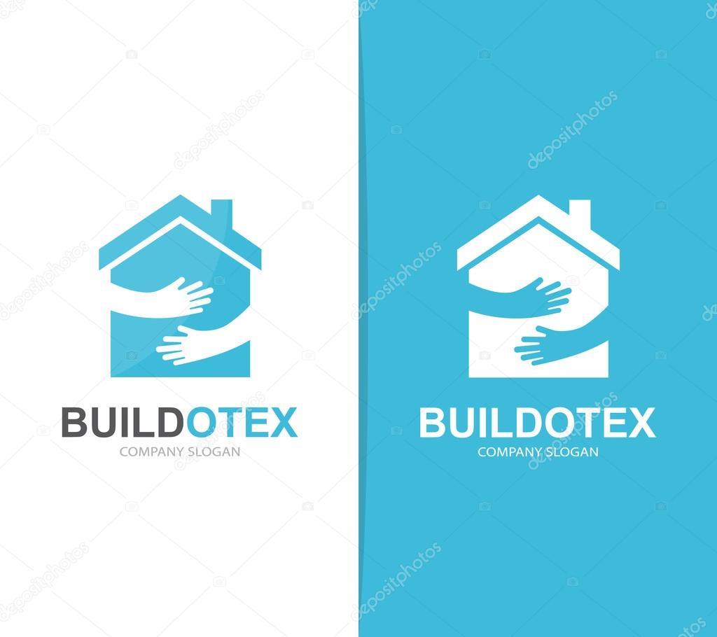 Vektor-Haus und Hände-Logo-Kombination. Immobilien und Umarmung ...