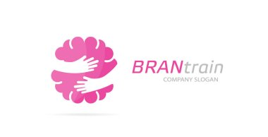 Vector brain and hands logo combination. Education and embrace symbol or icon. Unique science and idea logotype design template.