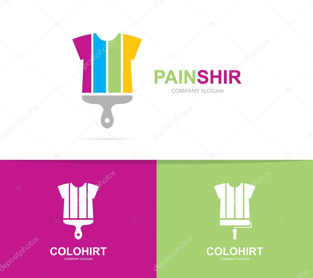 vector of shirt and brush logo combination garment and paintbrush