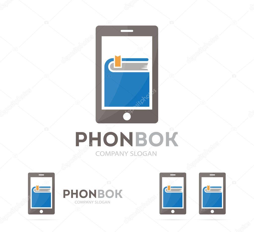 Вектор книги і телефон логотип комбінація. Роман та мобільного ... 39b6e7e75269c