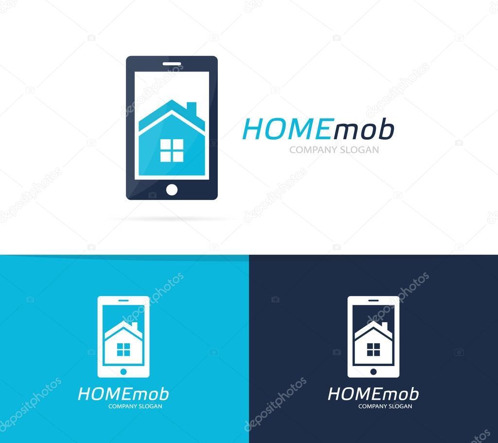 Vektor-Haus und Telefon-Logo-Kombination. Immobilien und mobilen ...