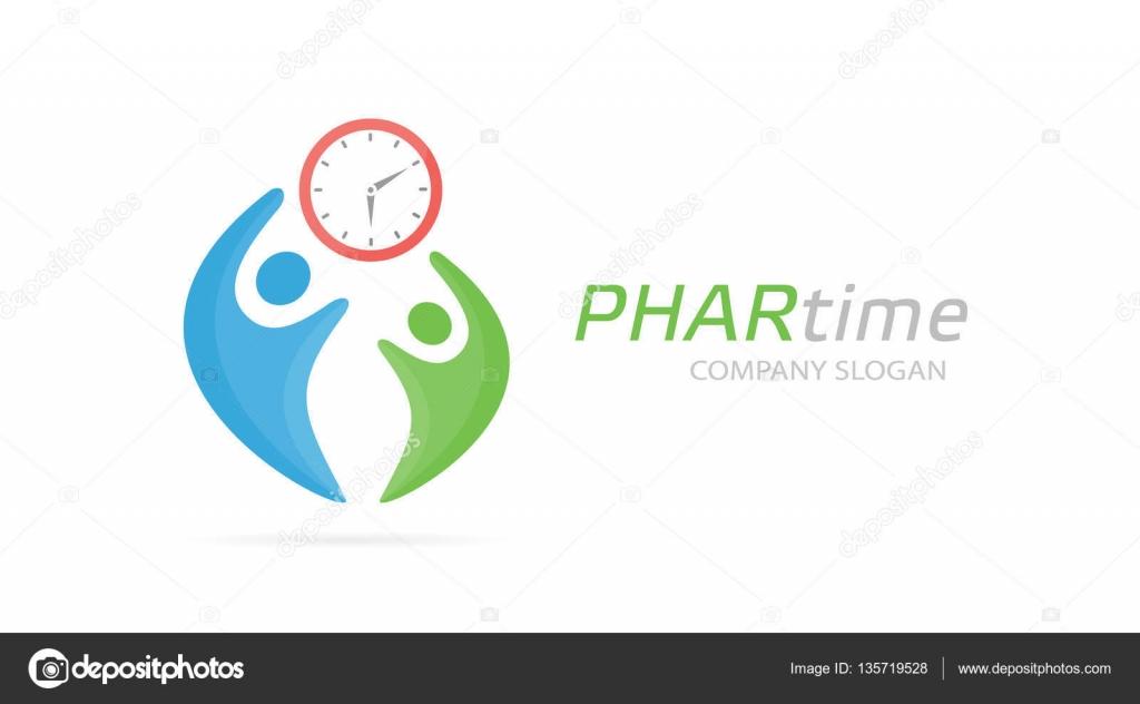 Vektor-Uhr und Menschen-Logo-Kombination. Zeit und Familiensymbol ...