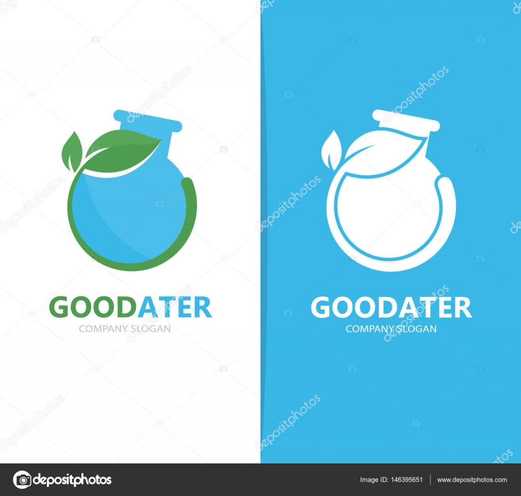 Vector de una combinación de logotipo frasco y hoja. Laboratorio y ...
