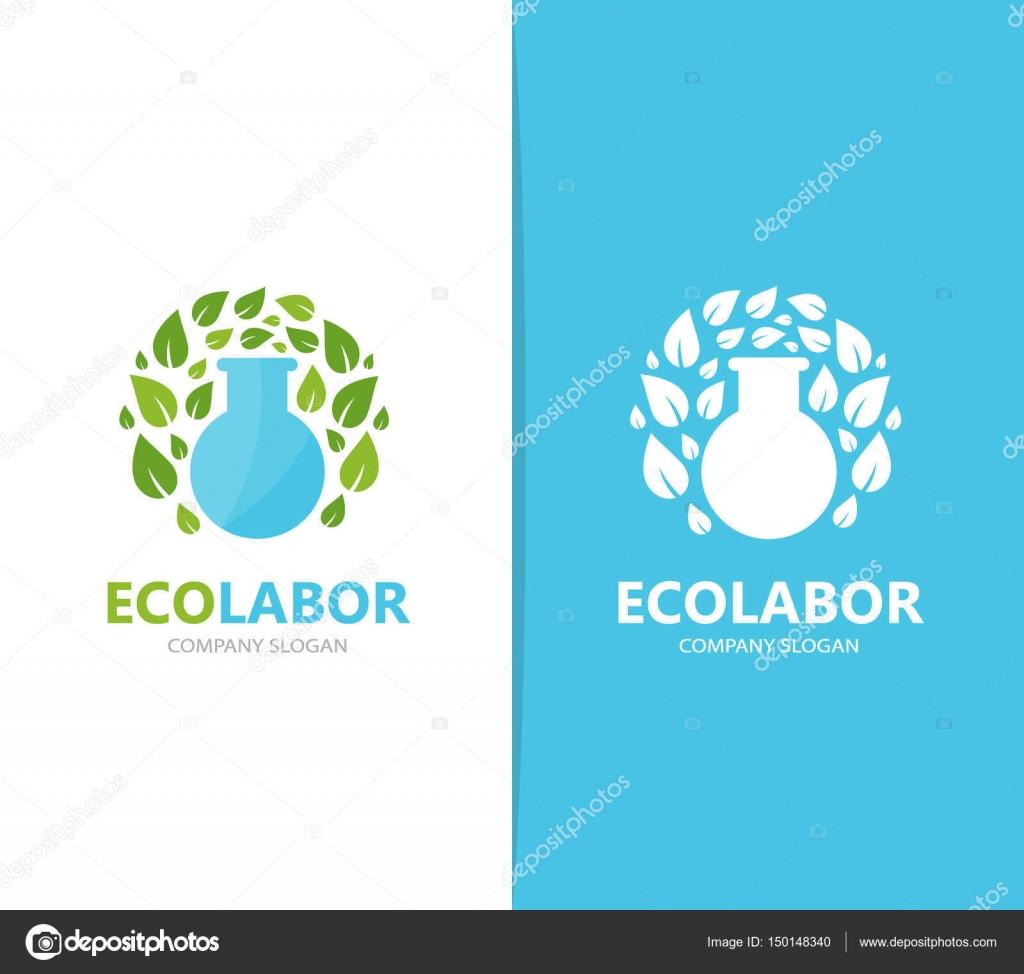 Vector de frasco y hoja de combinación de logo. Laboratorio y eco ...