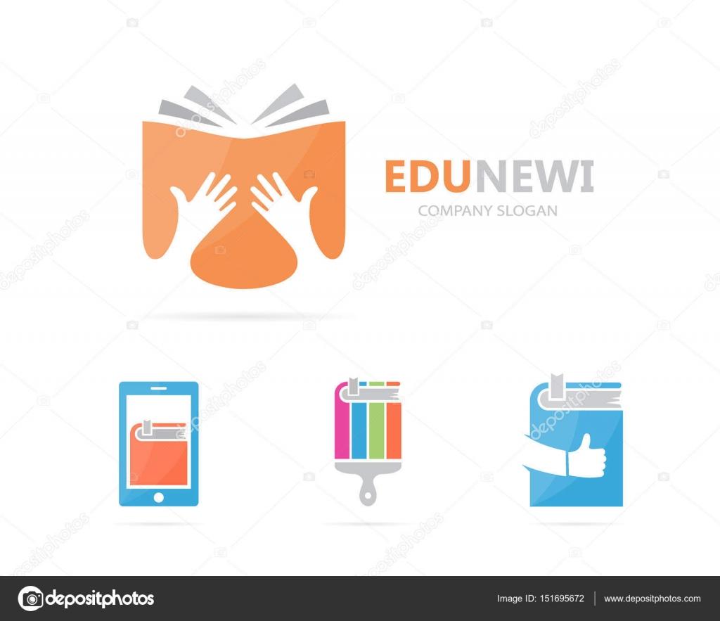 Vetor de combina o de logotipo de m o e o livro bra o e for Logotipos de bibliotecas