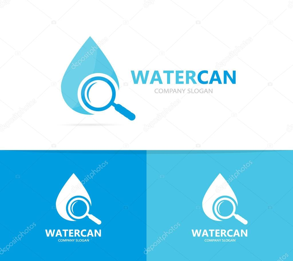 Vector of oil and loupe logo combination. Drop and magnifying glass symbol or icon. Unique water, aqua and search logotype design template.
