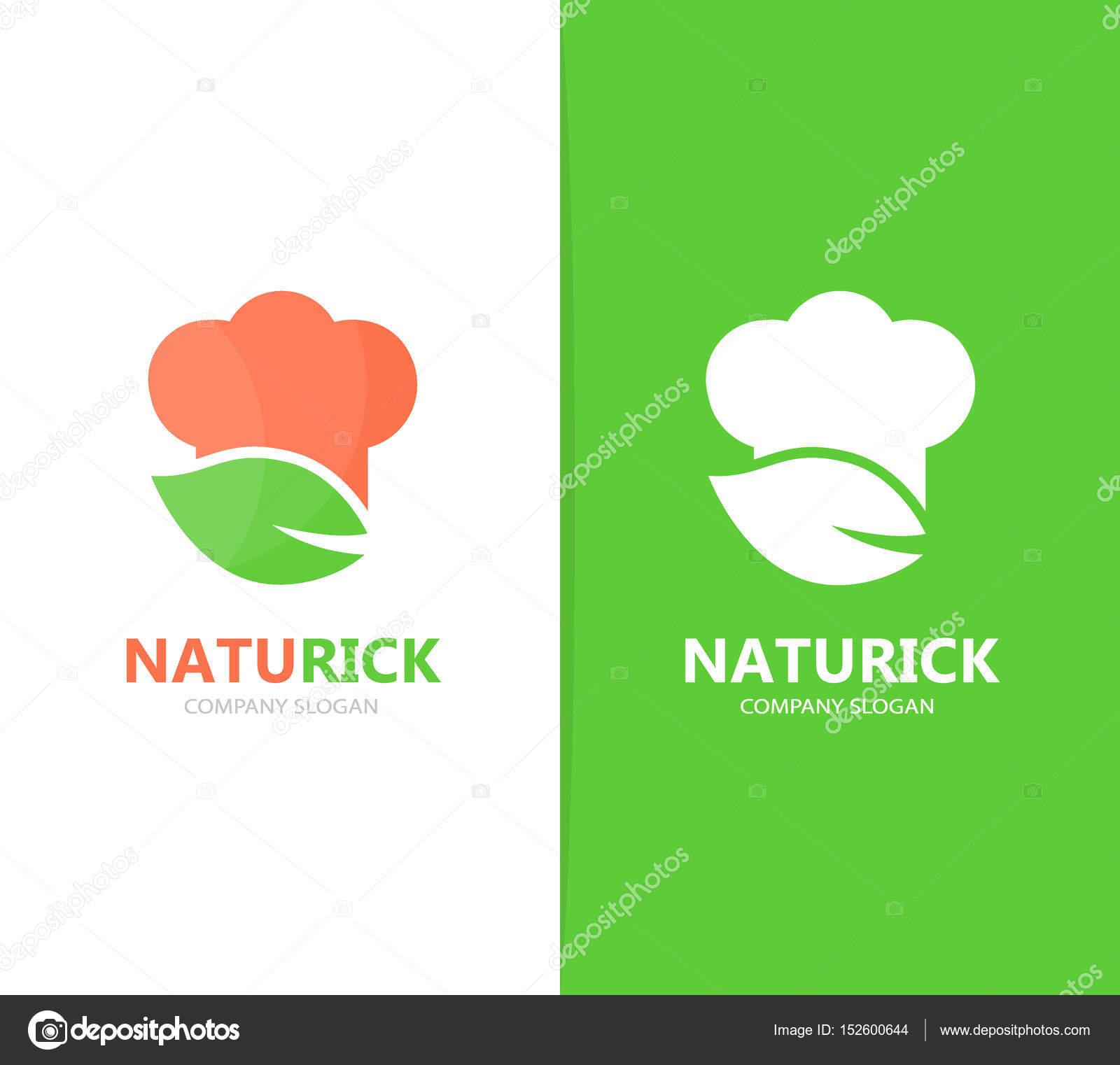 Vector de chef y hoja de combinación de logo. Icono o símbolo de la ...