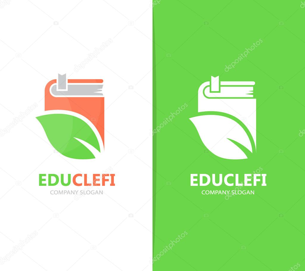 Vector of book and leaf logo combination. Library and eco symbol or icon. Unique organic and bookstore logotype design template.