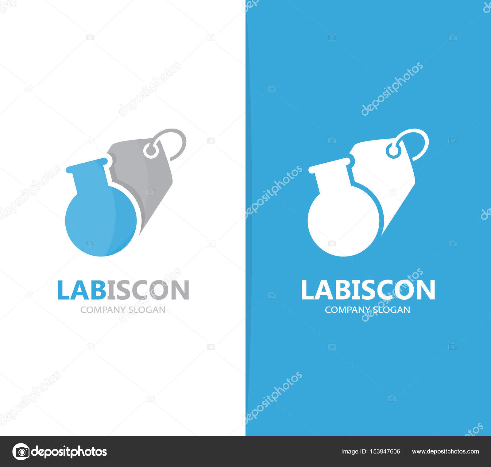 Vektor der Küvette und Tag Logo-Kombination. Labor und Shop-Symbol ...