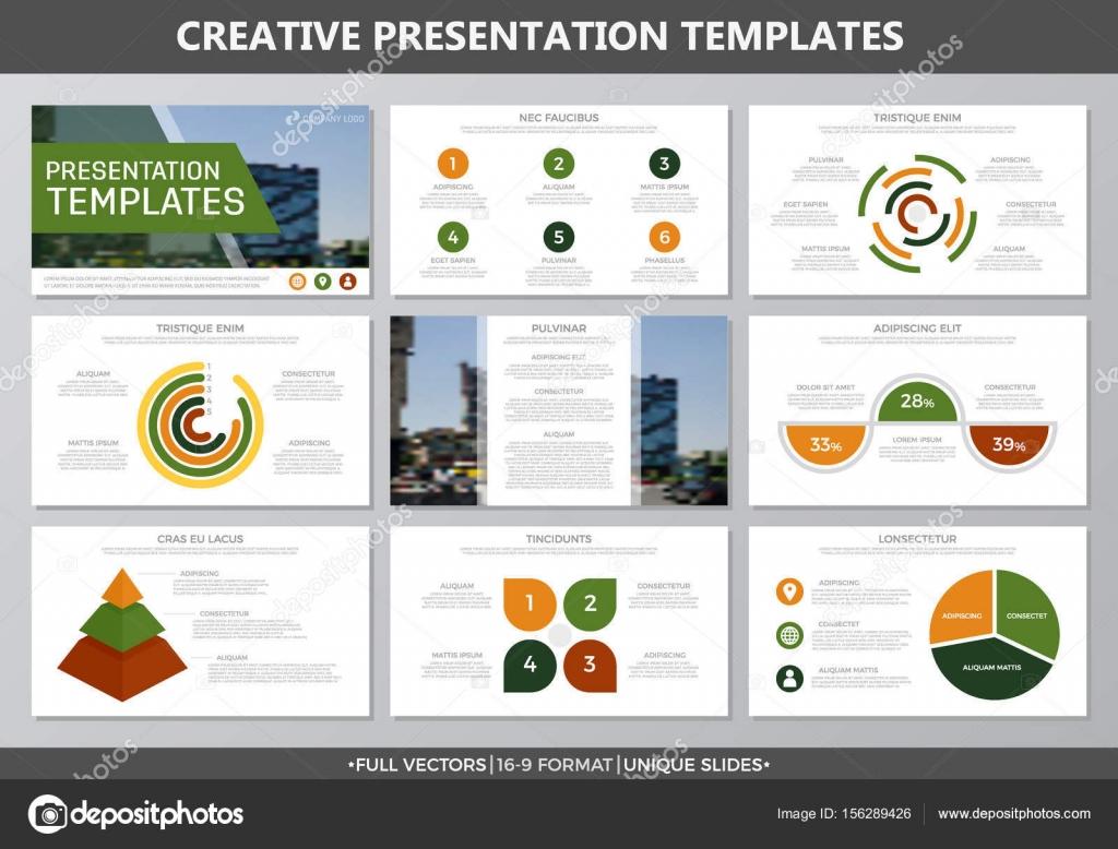 Conjunto de amarillos y verdes elementos de diapositivas de la ...