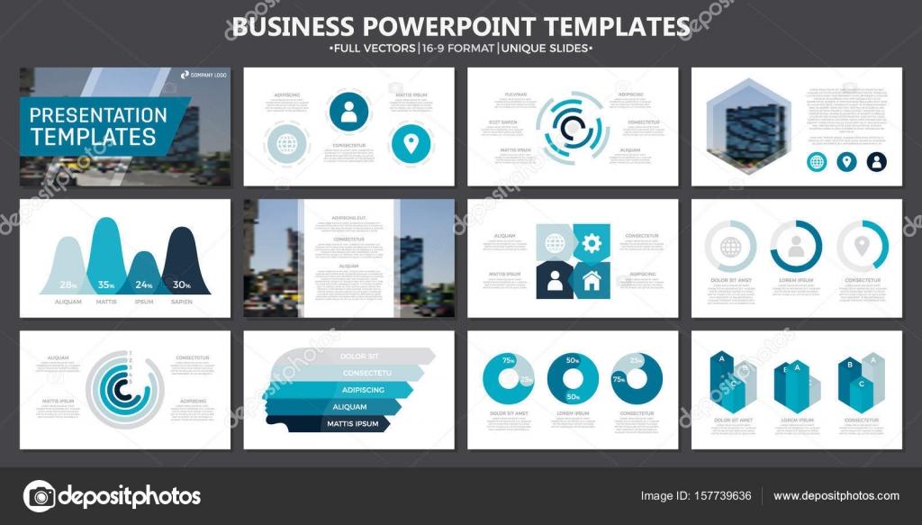 Conjunto de elementos azules y turquesas para diapositivas de la ...