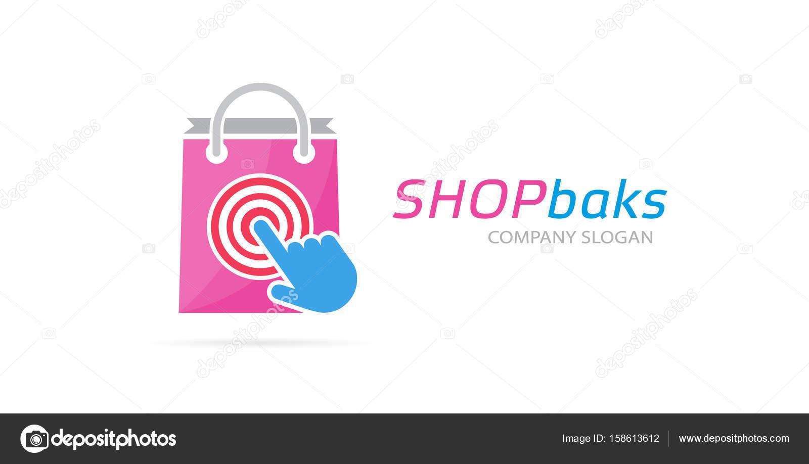 0287107e26 Csomagra és logó kombinációja. Shop és a kurzor szimbólum vagy ikon. Egyedi  vásárlás és eladás logo design sablon– stock kép