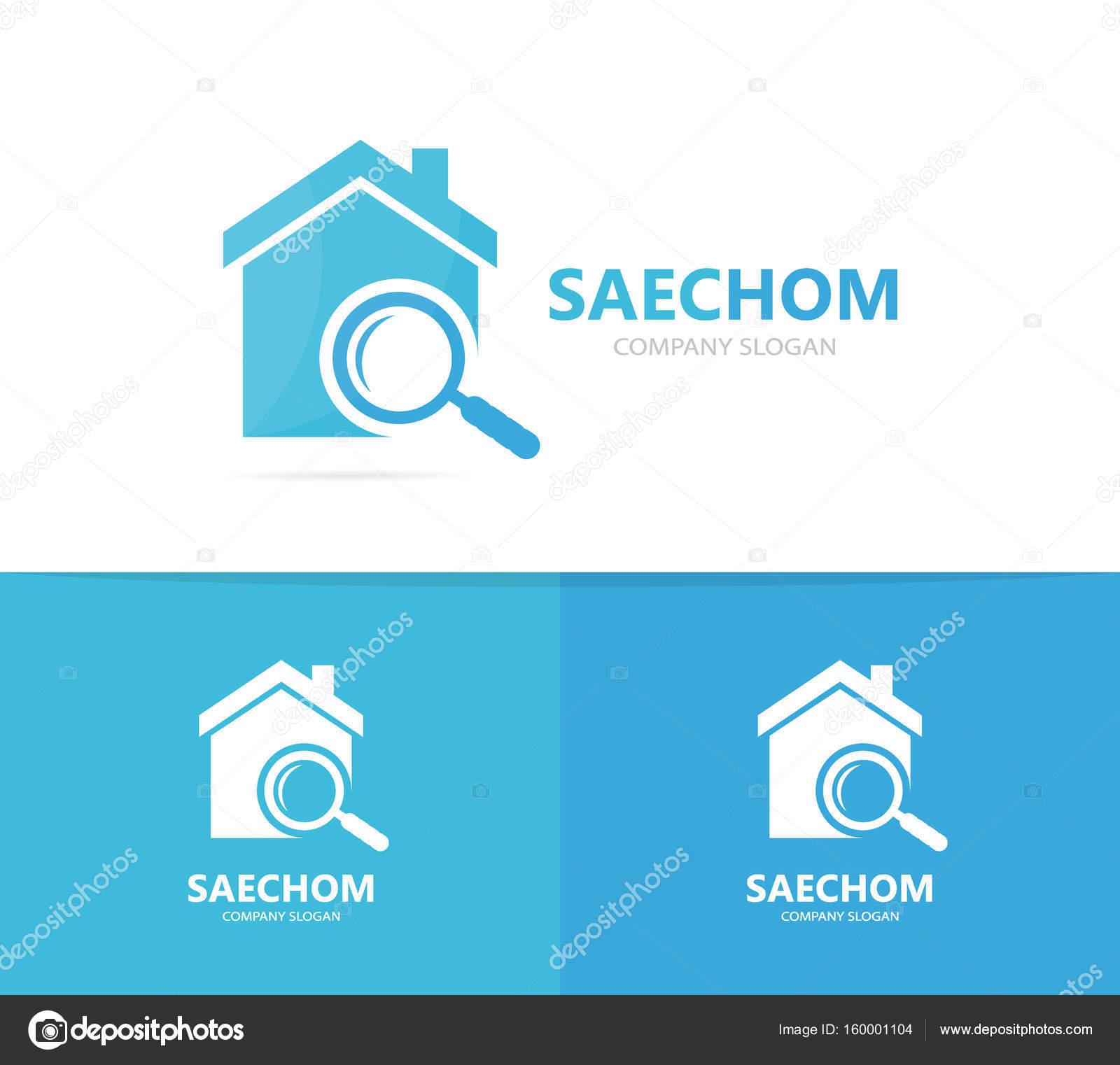 Immobilien und Lupe Logo-Kombination. Haus und Lupe-Symbol oder das ...