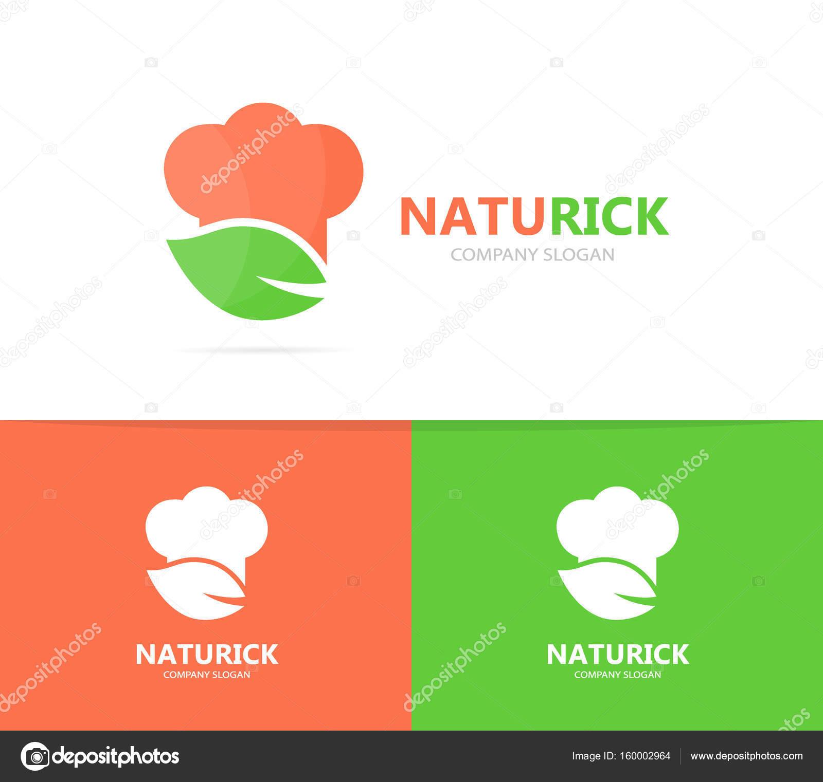 Chef y hoja de combinación de logo. Icono o símbolo de la cocina y ...
