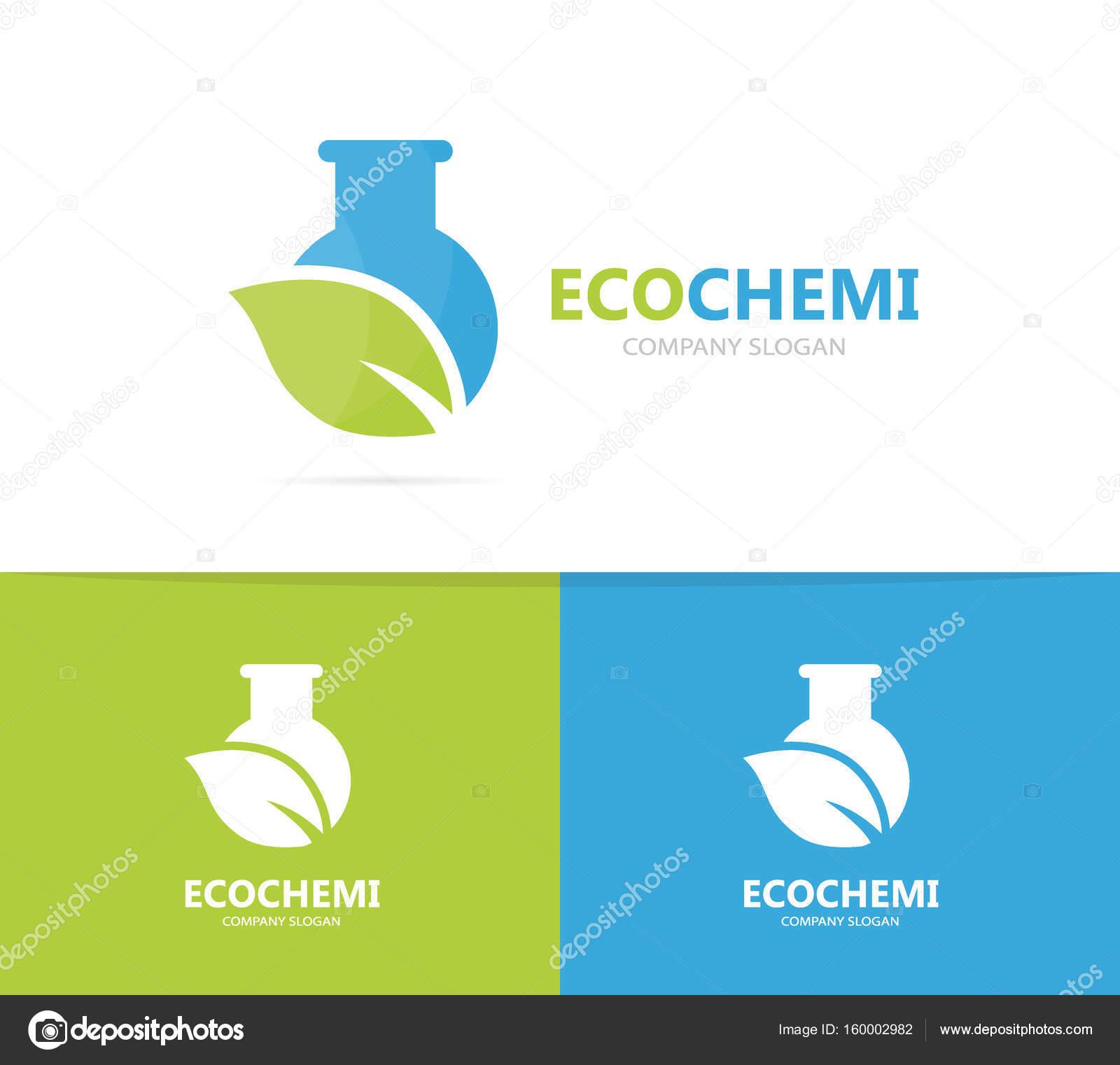 matraz y hoja de combinación de logo. Laboratorio y eco símbolo o ...