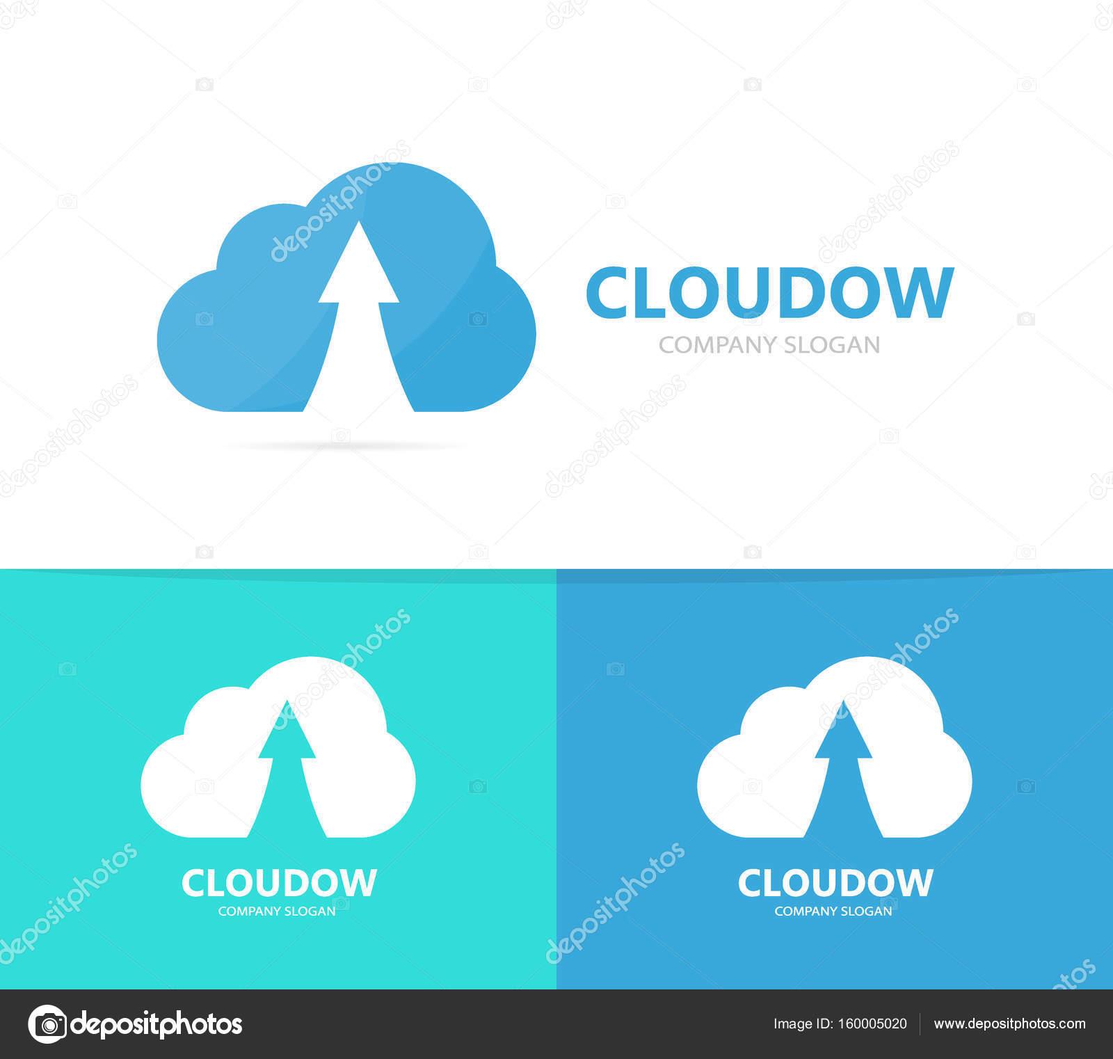 Arrow Up And Cloud Logo Combination Growth Storage Symbol Or Icon Unique