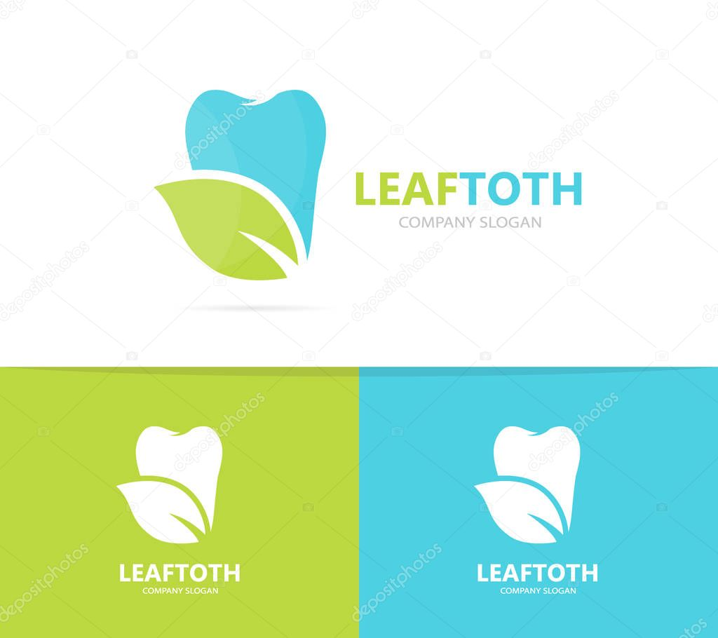 tooth and leaf logo combination. Dental and eco symbol or icon. Unique clinic and organic logotype design template.