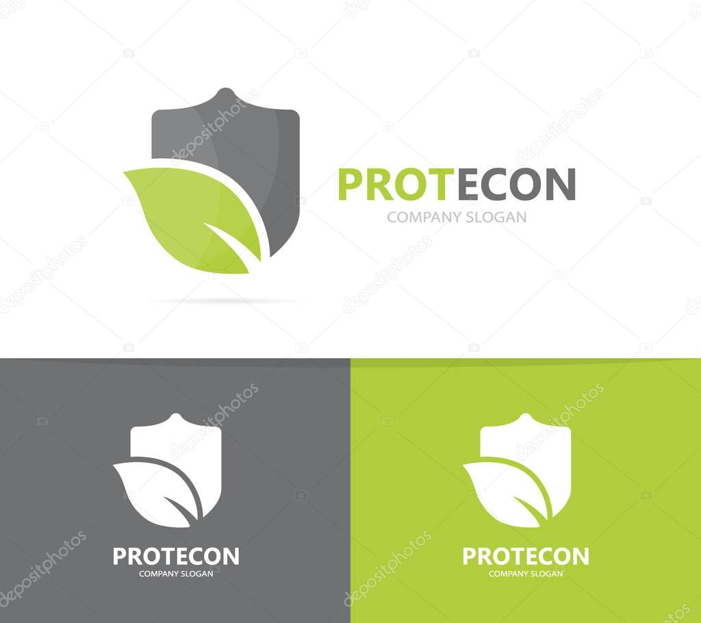 shield and leaf logo combination. Security and eco symbol or icon. Unique protect and organic logotype design template.
