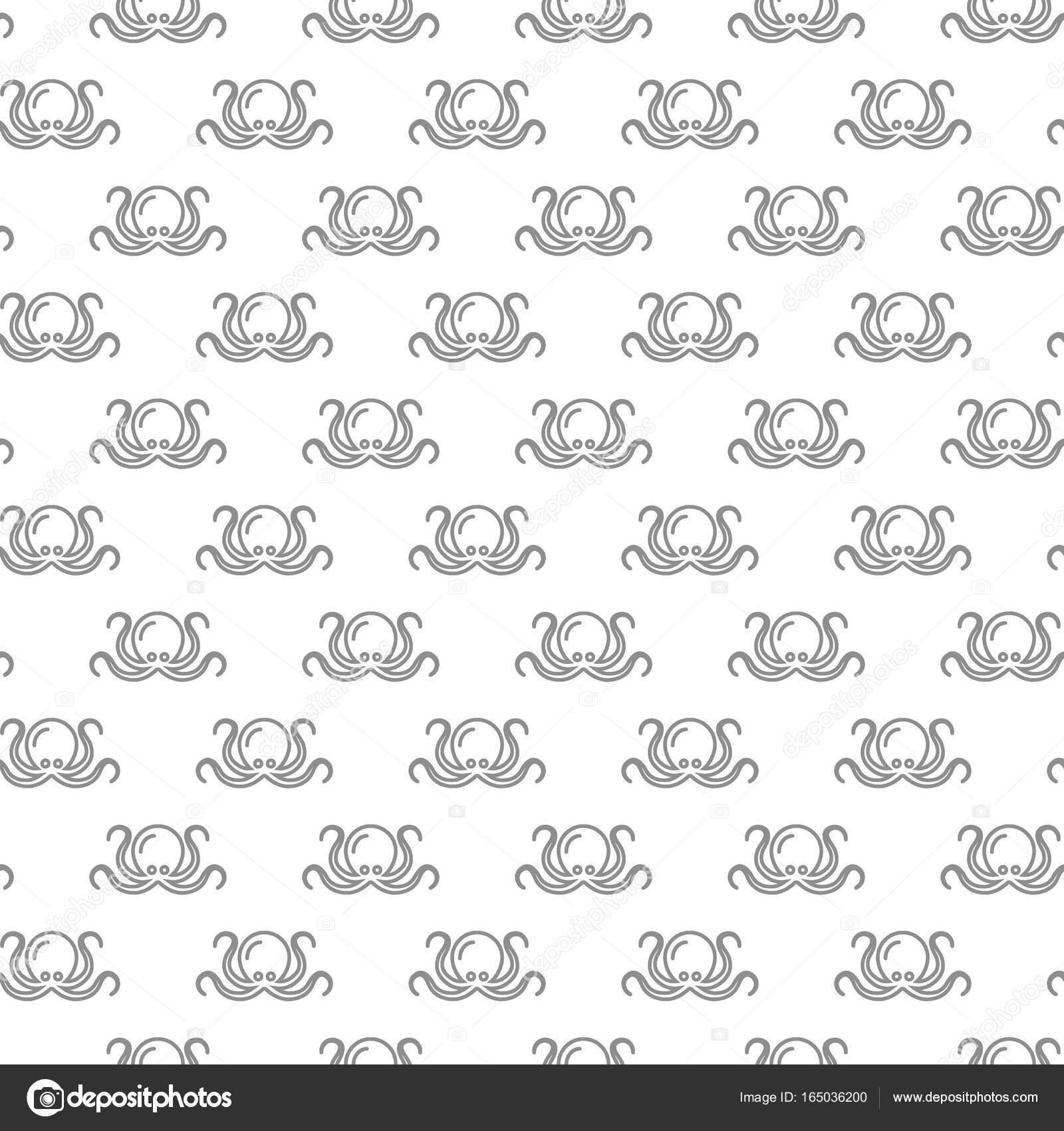 Patrón transparente único pulpo digital con varios iconos y símbolos ...