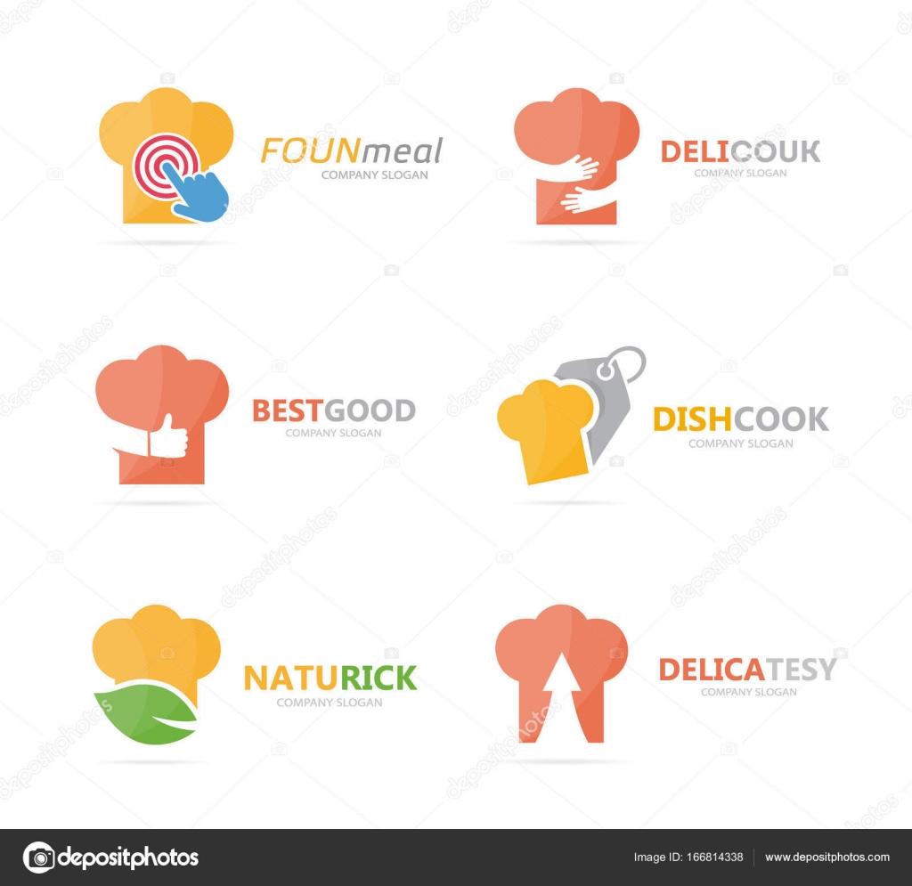 Juego combinación de logo de sombrero de chef. Cocina y cocina ...